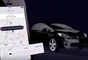 Ilustração da tela do aplicativo Uber: serviço polêmico Foto: Reprodução