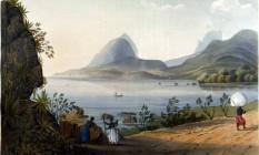 A Lagoa Rodrigo de Freitas representada por Henry Chamberlain, em 1822, então chamada de Lagoa de Freitas Foto: Divulgação/Cassará Editora/ Acervo da FBN