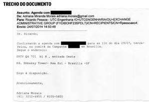 E-mail sobre reunião do dono da UTC no comitê de Dilma Foto: Reprodução