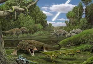 Ilustração mostra dinossauros e, ao fundo, asteroide que exterminou a vida na Terra Foto: Carl Buell / Agência O Globo