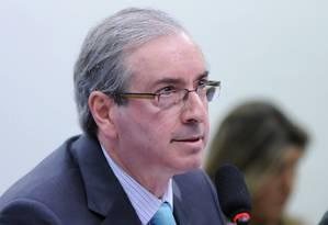 O presidente da Câmara, Eduardo Cunha, durante depoimento na CPI da Petrobras Foto: Divulgação / Lúcio Bernardo Jr. / Agência Câmara / 12/03/2015