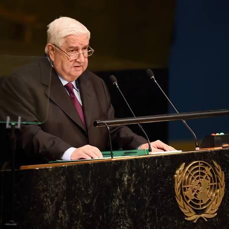 Walid al-Moualem, ministro de Relações Exteriores, em discurso na 70ª Assembleia Geral da ONU Foto: Don Emmert / AFP
