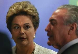 Dilma anuncia reforma administrativa que inclui redução dos salários dela e do vice-presdiente, Michel Temer Foto: André Coelho / Agência O Globo