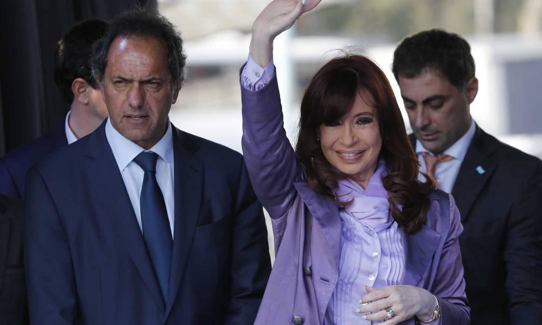 Cristina aparece em rede nacional com o candidato Daniel Scioli Foto: Ricardo Pristupluk / Ricardo Pristupluk