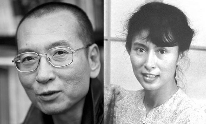Liu Xiabo e Aung San Suu Kyi foram presos por lutarem pela democracia Foto: Reprodução