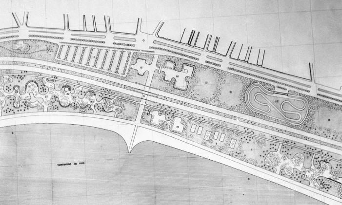 Planta de 1962 mostra desenho de um Kartódromo no parque Foto: Arquivo O Globo / Agência O Globo