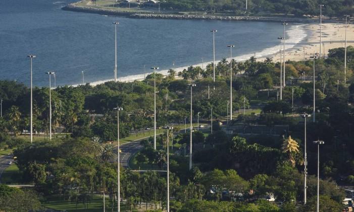 Área verde do parque: terreno á beira-mar não era o mais propício Foto: Daniel Marenco / Agência O Globo