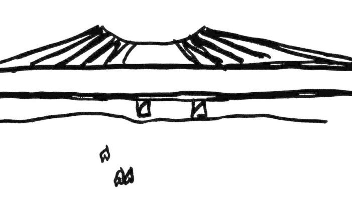 Croqui do Centro Musical, desenhado pelo arquiteto Oscar Niemeyer entre 1968 e 1973. O edifício seria erguido no Aterro do Flamengo, mas nunca saiu do papel Foto: Divulgação / Arquivo