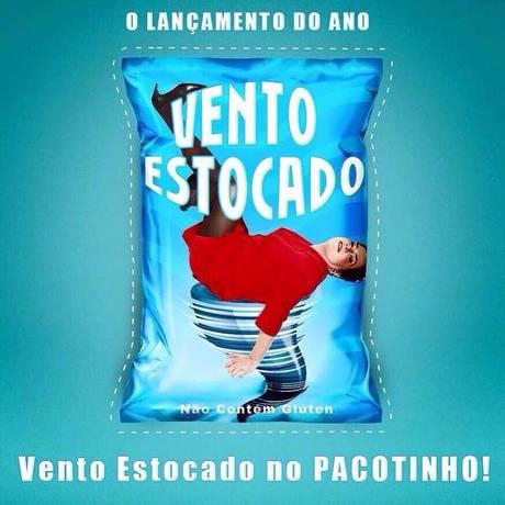 Internautas sugerem nova tecnologia para o estoque de vento. Na imagem, Dilma aparece em pacote de salgadinho só com ar. Montagens se espalharam Foto: Reprodução / Reprodução