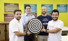 Pioneiros. Bruno, Marcos, Rafael e Jeizzon, da primeira turma, levaram suas empresas para São Francisco Foto: Fábio Rossi / Agência O Globo