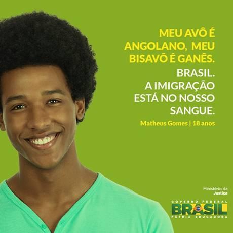 Campanha do Ministério da Justiça contra Xenofobia Foto: Divulgação