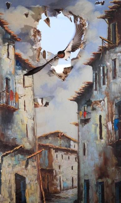 """Na categoria """"impressões"""", a foto vencedora foi do espanhol Juan Tapia. O fotógrafo colocou um quadro rasgado sobre uma janela quebrada, utilizada como porta de entrada e saída de andorinhas de um armazém no sul da Espanha, e fez o clique Juan Tapia / Wildlife Photographer of the Year 2015"""