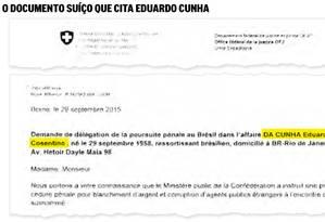 Documento suíço cita Eduardo Cunha Foto: Reprodução