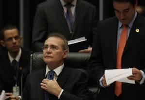 Delação. Renan foi acusado pelo lobista Fernando Baiano de ser beneficiário de propina em contrato da Petrobras Foto: Michel Filho / Agência O Globo
