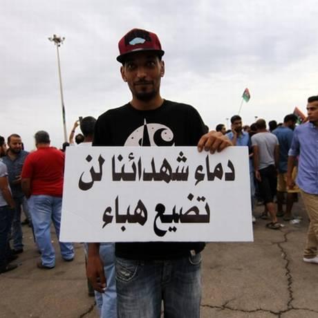 Líbios protestam em Benghazi contra unificação Foto: Abdullah Doma / AFP