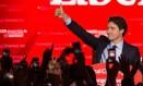 Justin Trudeau comemora vitória em comício em Montreal Foto: NICHOLAS KAMM / AFP