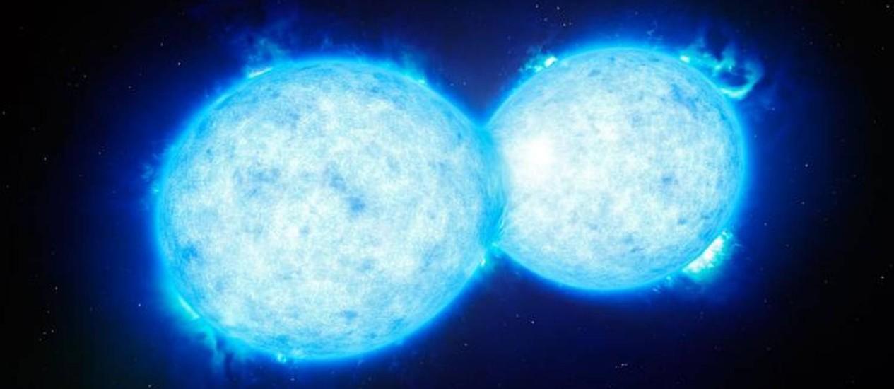 Ilustração mostra o encontro final das duas estrelas do sistema VFTS 352 Foto: ESO/VLT