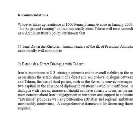 E-mail vazado mostra recomendações para futuro presidente (que assumiria em 2009) diante do Irã Foto: Reprodução