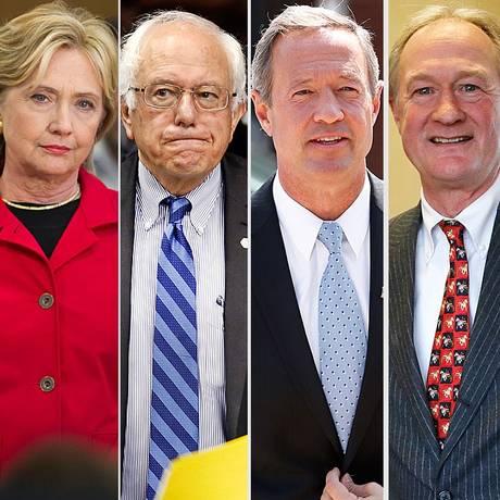 Sanders, O'Malley e Chafee (da esquerda à direita) tentam desbancar Hillary Foto: Reprodução