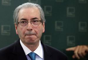 O presidente da Câmara, Eduardo Cunha, durante entrevista Foto: Givaldo Barbosa / Agência O Globo / Arquivo 22/10/2015
