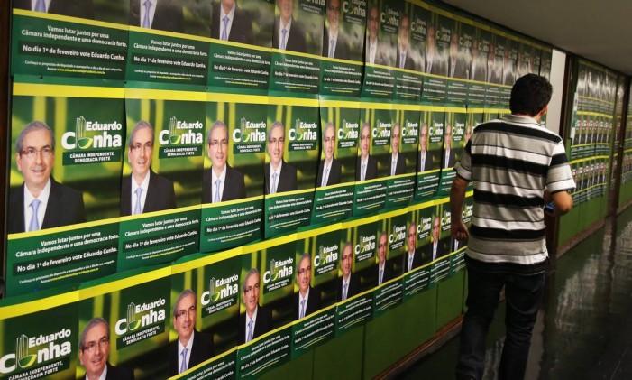 Fotos da candidatura do deputado federal Eduardo Cunha (PMDB-RJ) à presidência da Câmara Foto: Arquivo 12/01/2015 / Aílton de Freitas / Agência O Globo