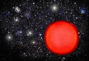 Ilustração de uma estrela gigante vermelha: todos astros com cerca de 0,4 vez a até 8 vezes a massa do Sol deverão passar por esta fase perto do fim de sua vida Foto: David A. Aguilar/CfA