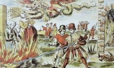 Terror. Folheto alemão sobre a queima de bruxas em Derenburg, na Alemanha, em 1555: histeria e misticismo envolveu toda a Europa Foto: Reprodução