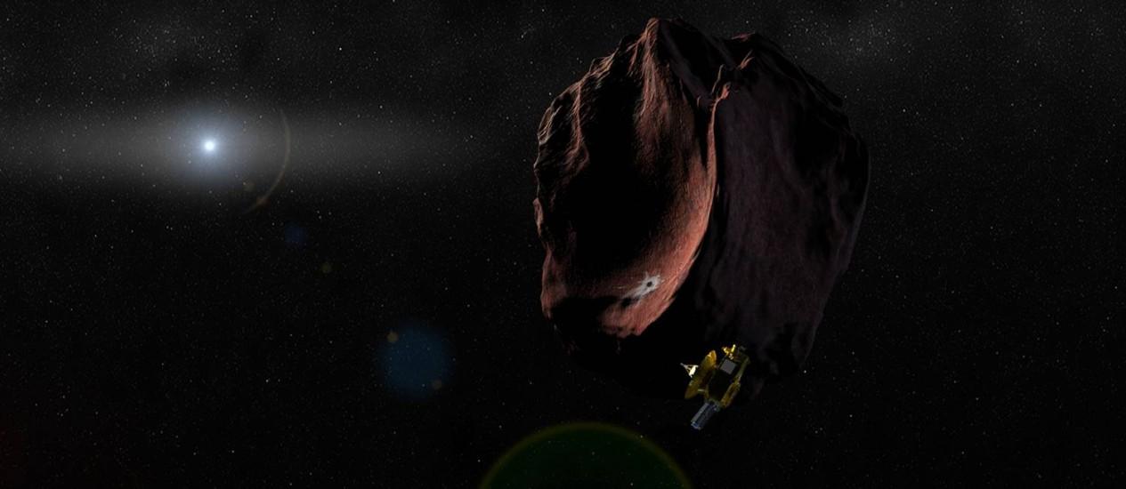 Ilustração mostra a sonda New Horizons junto a um objeto do Cinturão de Kuiper, nos confins do Sistema Solar Foto: Nasa/Steve Gribben