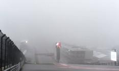 A forte chuva que caiu no Circuito das Américas, em Austin, e forçou o cancelamento do segundo treino livre de sexta-feira Foto: Lars Baron / AFP