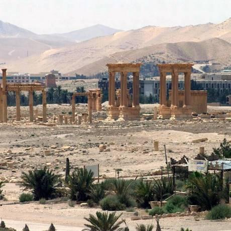 Foto de arquivo divulgada pela agência Sana mostra uma vista geral da cidade histórica de Palmira, na Síria Foto: Uncredited / AP