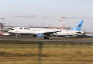 Aeronave russa que caiu no Egito era um Airbus A321 da empresa aérea Kogalymavia, conhecida como Metrojet Foto: Marina Lystseva / AP
