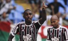 Gerson comemora o gol da vitória do Fluminense Foto: Guilherme Leporace