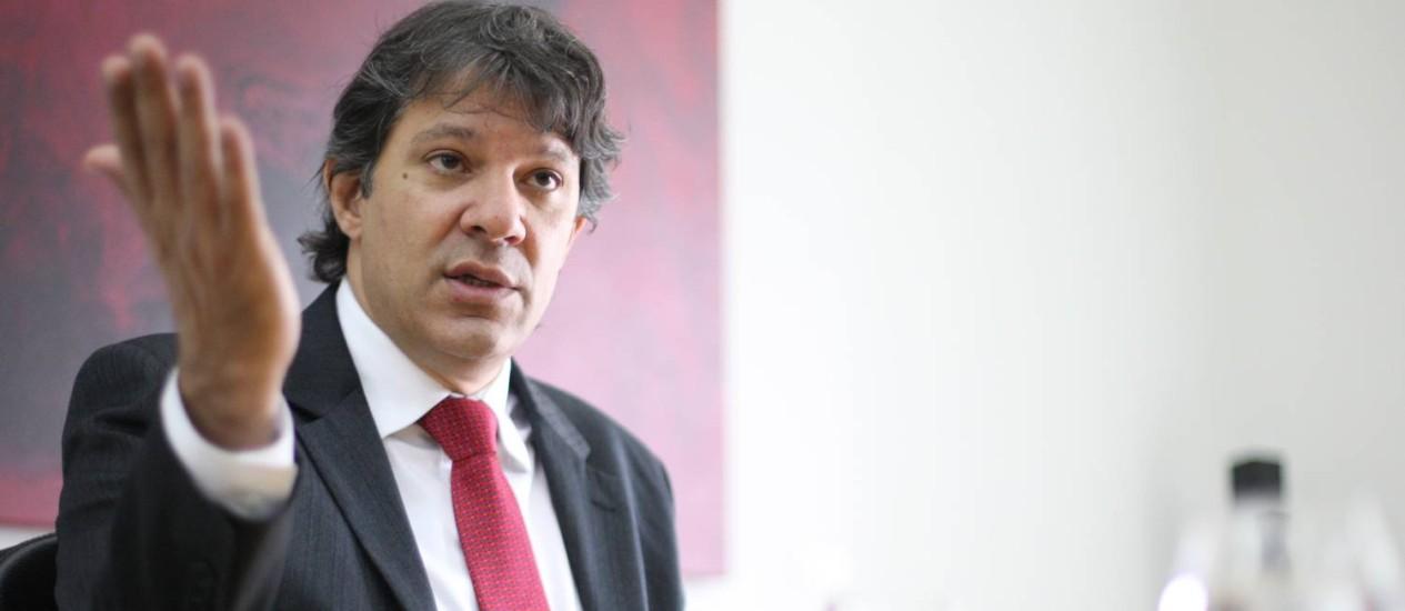 O prefeito de SP, Fernando Haddad Foto: Agência O Globo
