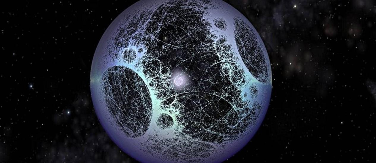 Ilustração de uma Esfera Dyson, hipotética megaestrutura espacial que uma civilização avançada poderia construir para coletar a energia gerada por uma estrela Foto: Nasa