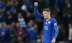 O artilheiro Vardy é a principal esperança de gols do Leicester Foto: Reuters / Alex Morton