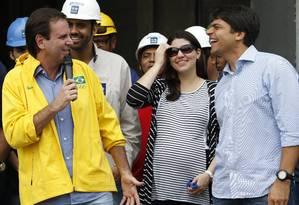 Eduardo Paes assegurou que o secretário Pedro Paulo é o melhor candidato para o Rio em inauguração no Parque Olímpico Foto: Domingos Peixoto