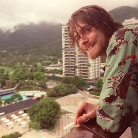 Popstar. No Rio de Janeiro, Kurt Cobain, vocalista do Nirvana: explosão do rock Foto: Márcia Foletto 20/01/1993 / Agência O Globo