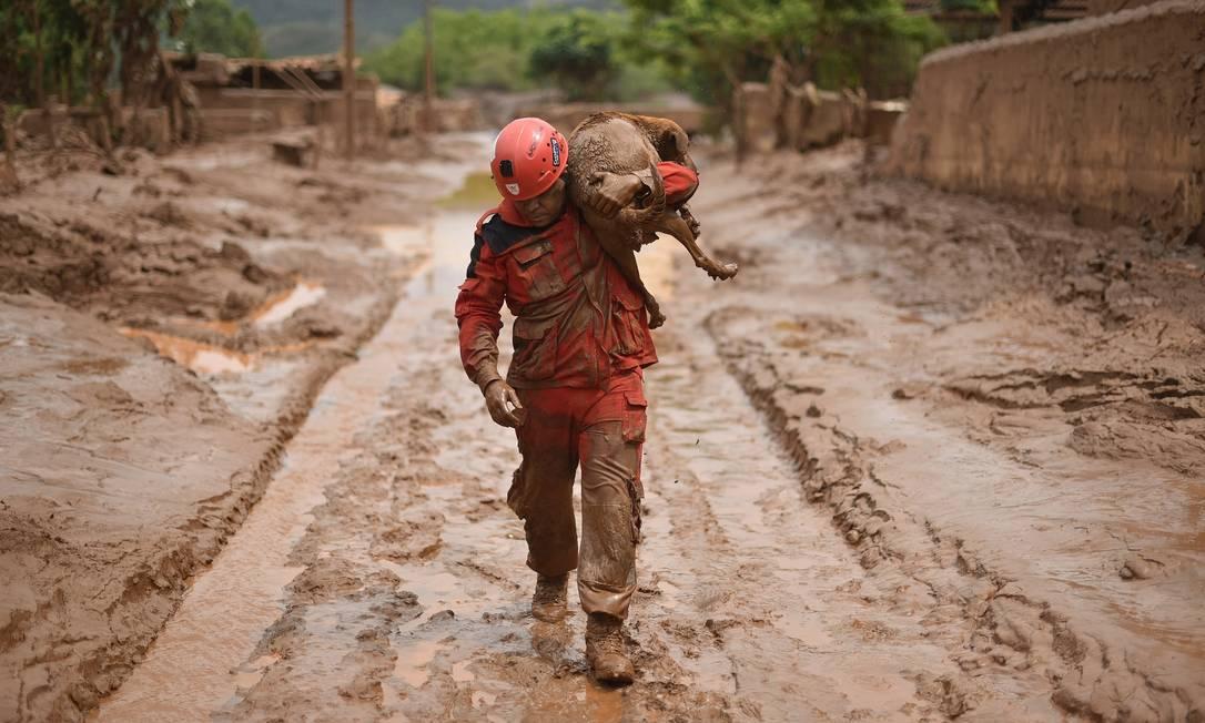 Paracatu de Baixo é um dos cinco distritos arrasados pelo mar de lama Foto: Douglas Magno / AFP
