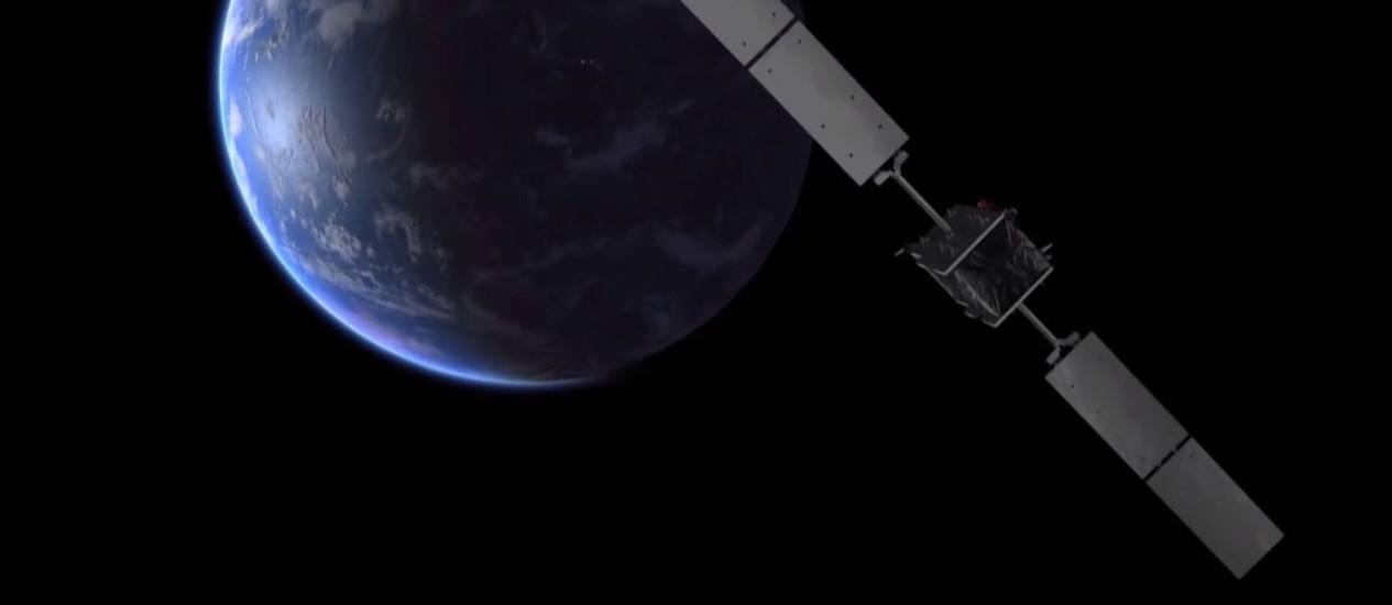 Ilustração mostra um dos satélites da constelação do futuro sistema de navegação europeu Galileo na órbita da Terra: oportunidade única para testar efeito da gravidade na passagem do tempo Foto: ESA