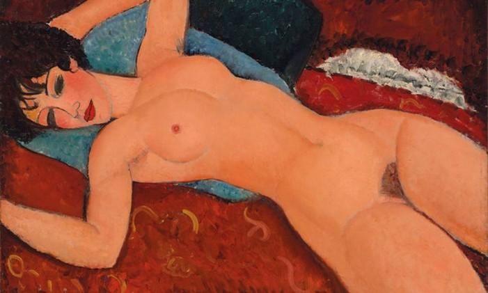 A obra 'Nu couché', de Modigliani, provocou escândalo quando foi exibido pela primeira vez em Paris Foto: Reprodução