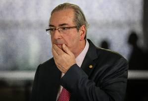 Presidente da Câmara, deputado Eduardo Cunha, chega ao Congresso nesta terça-feira Foto: André Coelho / Agência O Globo
