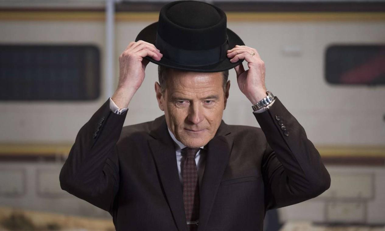 Bryan Cranston veste novamente o chapéu de Walter White/Heisenberg Foto: JIM WATSON / AFP