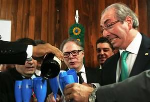 O presidente da Câmara, Eduardo Cunha, participa da cerimônia de lançamento da Frente Parlamentar de Defesa e Valorização da Produção Nacional de Uvas, Vinhos, Espumantes e Derivados Foto: Jorge William / Agência O Globo