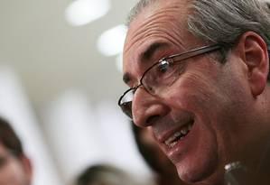 O presidente da Câmara, Eduardo Cunha concede entrevista coletiva após dia tumultuado Foto: Jorge William / Agência O Globo