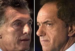 Mauricio Macri e Daniel Scioli, rivais na disputa pela Presidência da Argentina