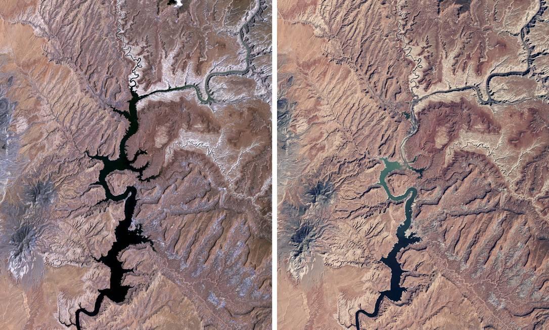 Imagens de satélite da NASA mostram o lago em 1991 e em 2015 NASA / REUTERS