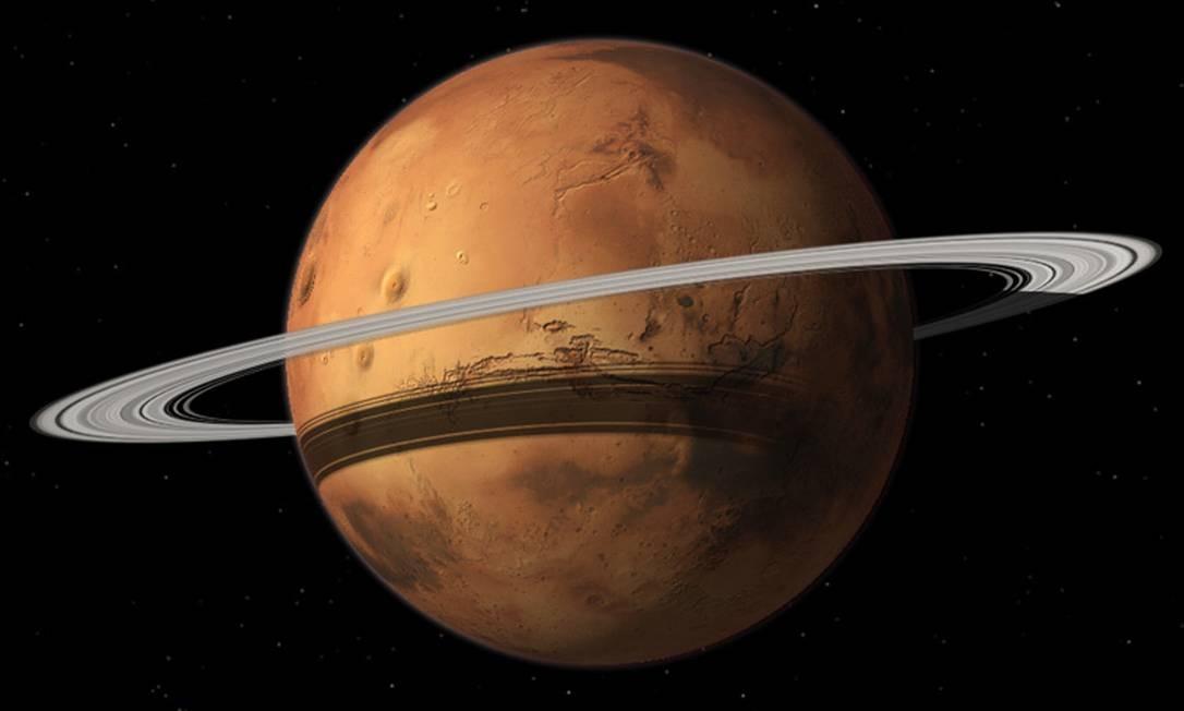 Ilustração mostra Marte com o futuro sistema de anéis que resultará da destruição de sua maior lua, Phobos Foto: Divulgação/Tushar Mittal