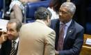 Romário durante sessão no Senado Foto: Ailton de Freitas / Agência O Globo
