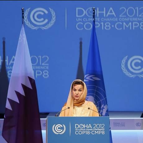 Christiana na COP-18, em Doha: desafio de somar as contas Foto: FADI AL-ASSAAD/Reuters/26-11-2012