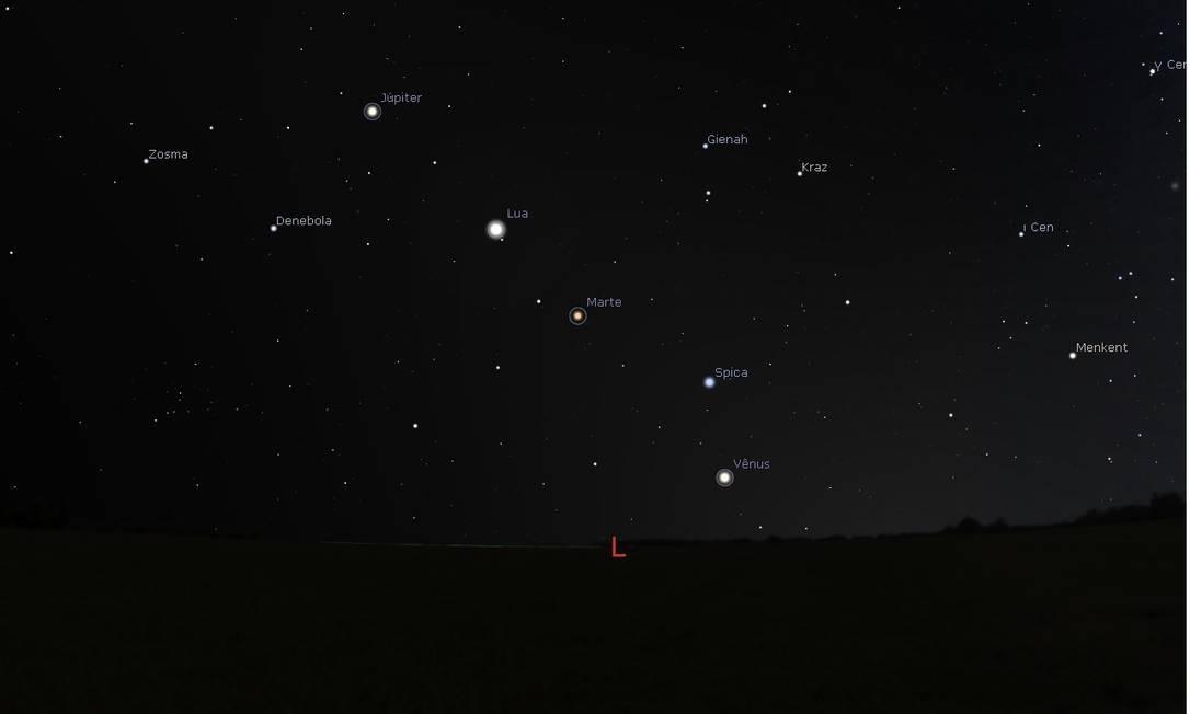 Ilustração mostra a posição dos planetas Vênus, Marte e Júpiter e da Lua no céu do Rio de Janeiro às 4h da madrugada do próximo dia 5 Foto: Reprodução/Stellarium